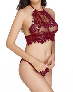 Women Lace Underwear Set Two Piece Sexy Delicate See-Through Lace Bra Panty Set Trim Halter Lace Lingerie Set - Coendy