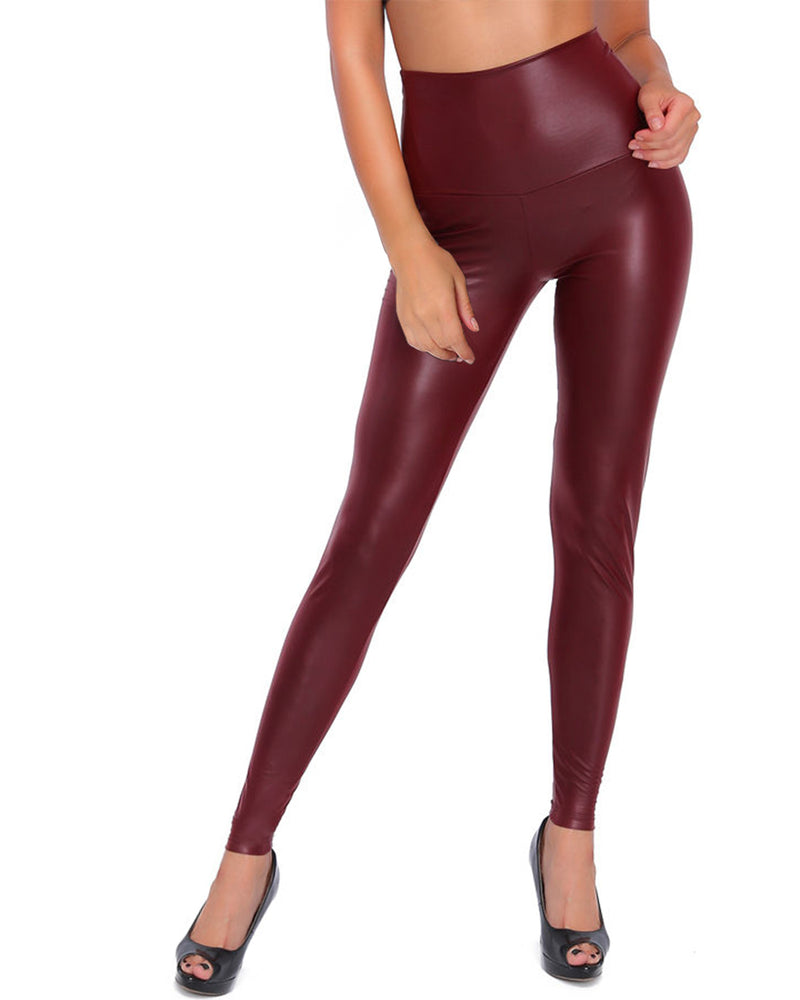 Women Faux Leather High Waisted Leggings Sexy Stretchy Tight Skinny Pants