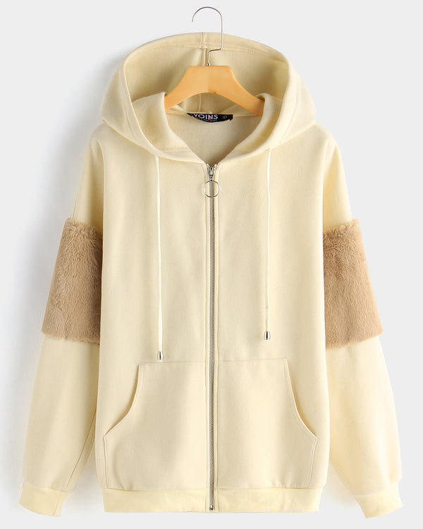 Women Color Block Long Sleeve Zip Up Hooded Jacket