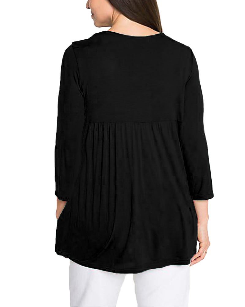 Women Flowy Long Sleeves T-Shirt Solid Round Neck with Pockets Casual