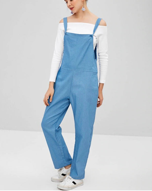 Women's Baggy Bib Loose Overall With Pocket