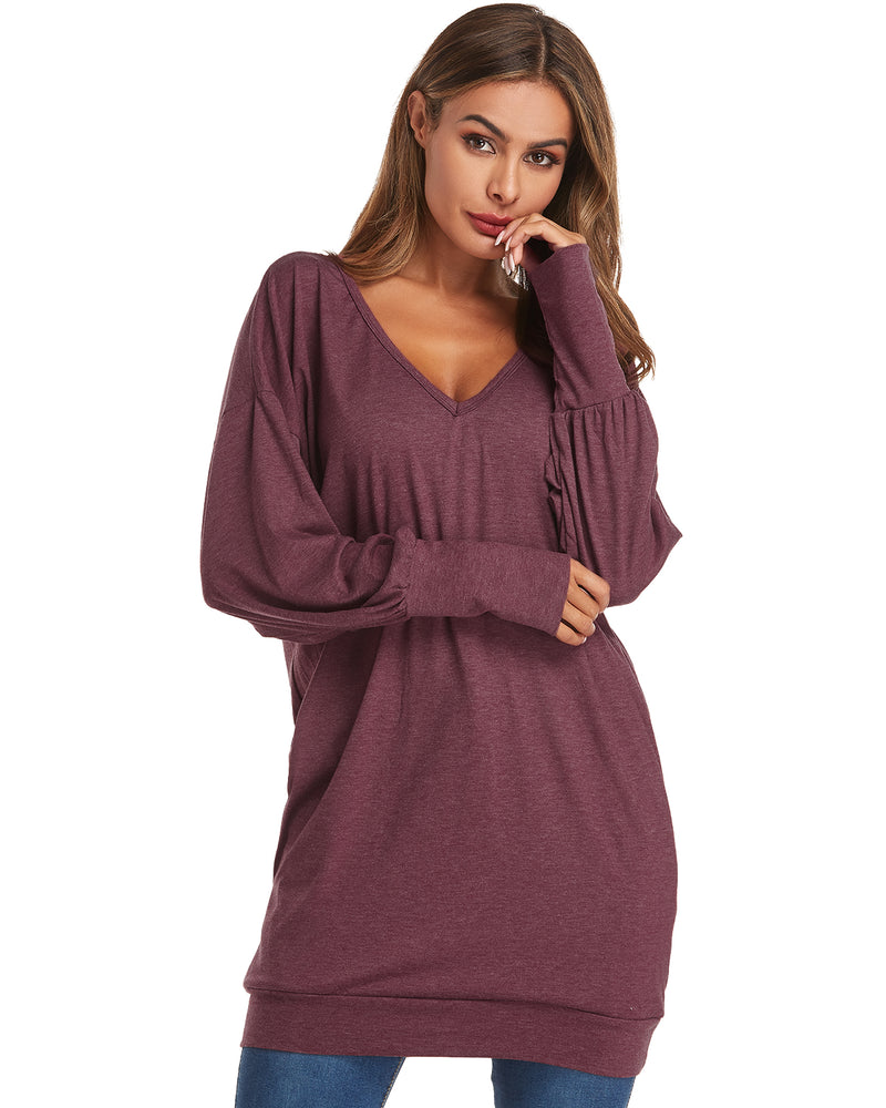 Women's Loose Baggy Jumper Tunic Tops Sweater Mini Dress Pullover - Coendy