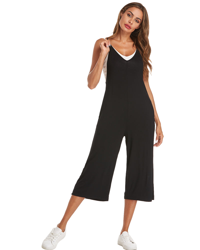 Womens Casual Overall Loose Fit with Pockets Wide Leg