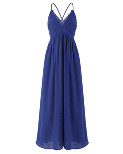 Women Lace Solid Color Elegant Wedding Bridesmaid Evening Maxi Dress - Coendy