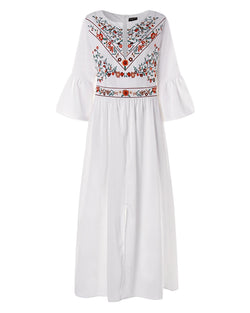 Women's Bohemian Floral Kaftans Dress Split Long Maxi Dress - Coendy