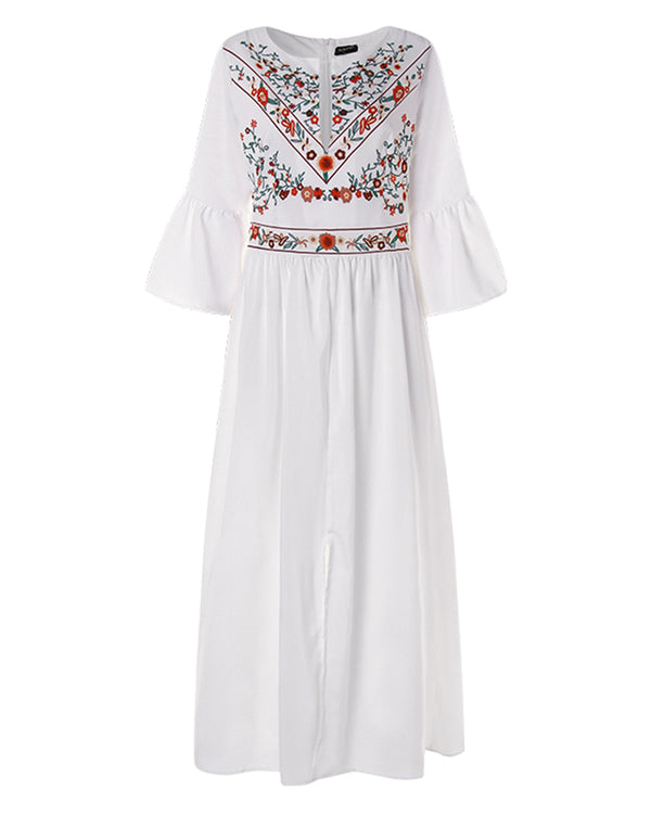 Women's Bohemian Floral Split Maxi Dress - Coendy