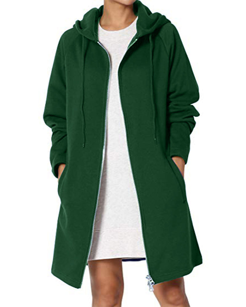 Women's Zip Up Hoodies Solid Color Casual Long Coat