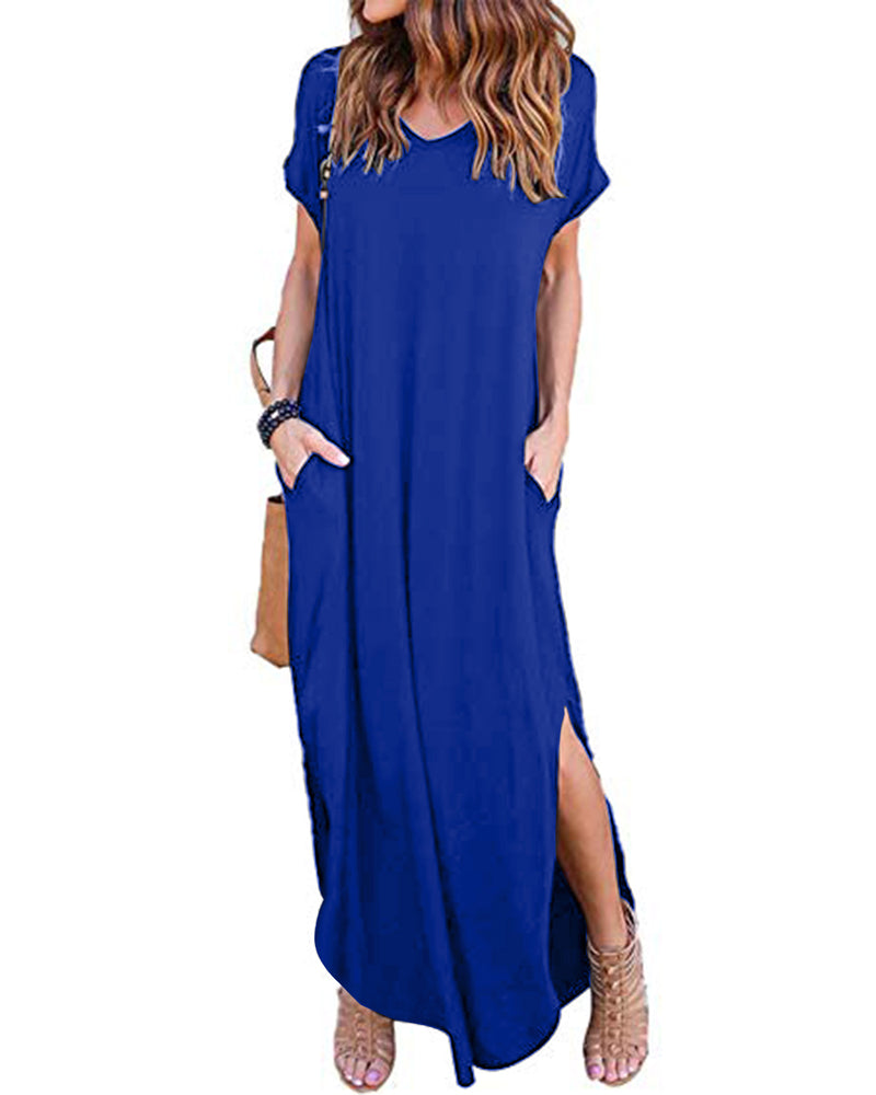 Womens Tshirt Maxi Dress with Pockets Side Slit Short Sleeve Casual