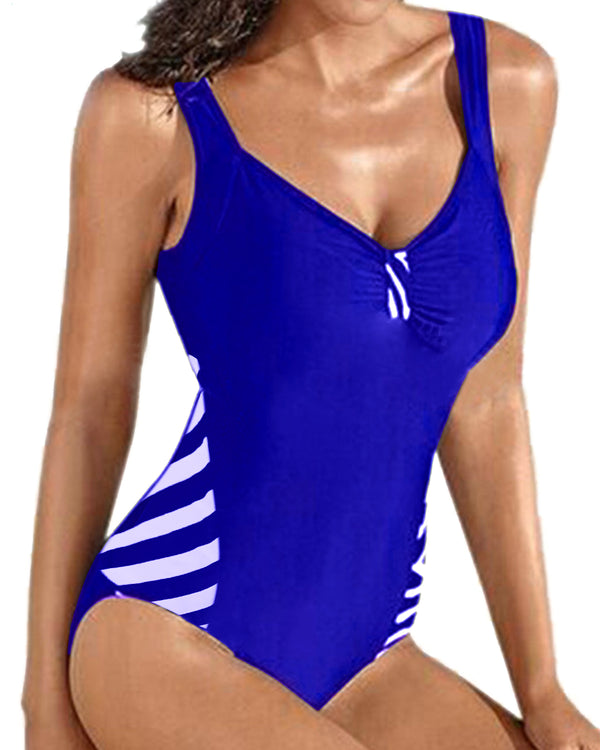 Women's One-Piece Swimsuits Tummy Control Swimwear Monokini V Neck Slimming Bathing Suits - Coendy