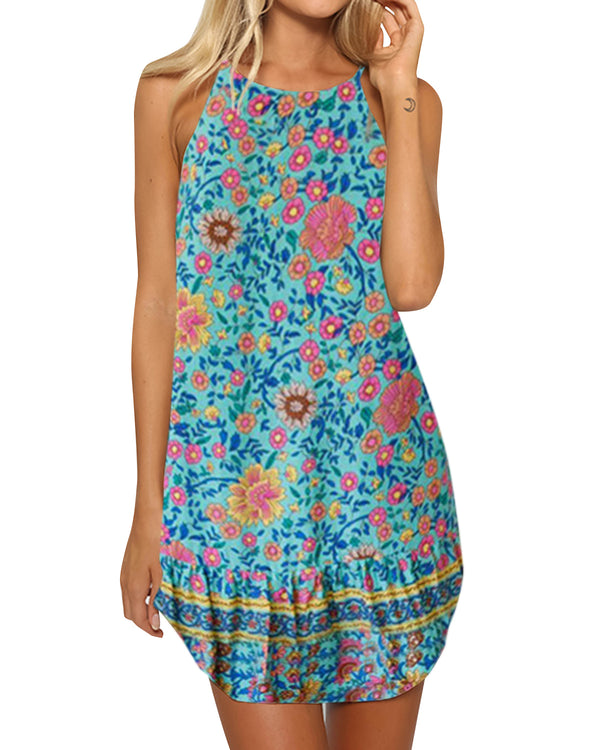 Women Casual Summer Sleevesless Bohemian Floral Print Beach Mini Dress - Coendy