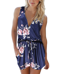 Womens Floral V Neck Half Zip Cute Romper with Pockets