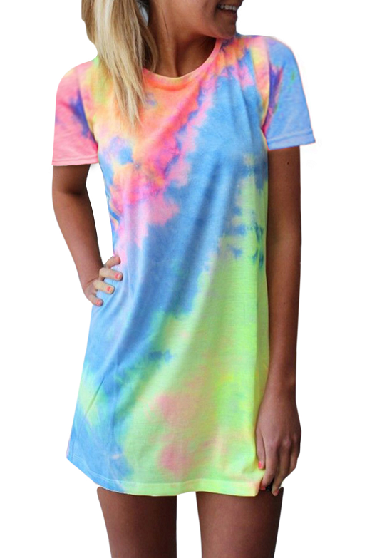 Women's T Shirt Dress Tie-dye Print Mini Dress