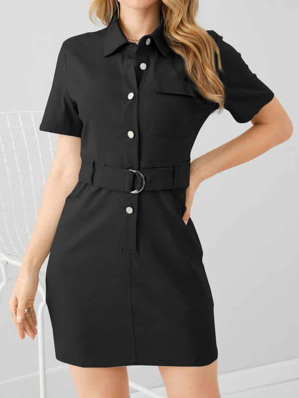 Casual Solid Button Front Short Sleeves Belt Mini Dress
