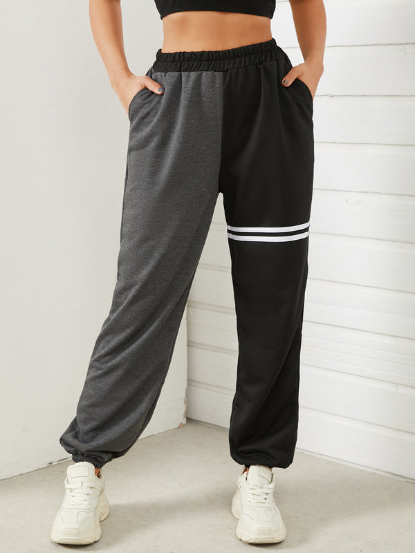 Color Block Side Striped Casual Loose Sport Jogger Pant