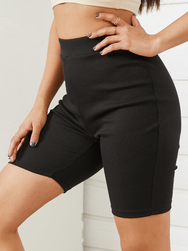 Women Plain Color High Waisted Five-point Sports Shorts