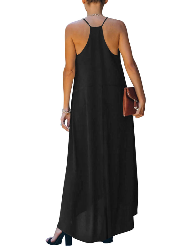 Women Summer Solid Color Maxi Dress