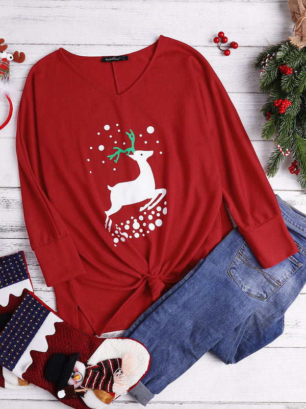 Women V-Neck Loose Fit Christmas Elk Crochet Knitted Sweater