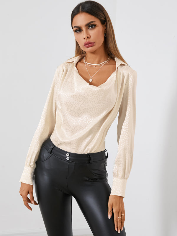 Women Casual Loose Solid Satin Jacquard Blouse