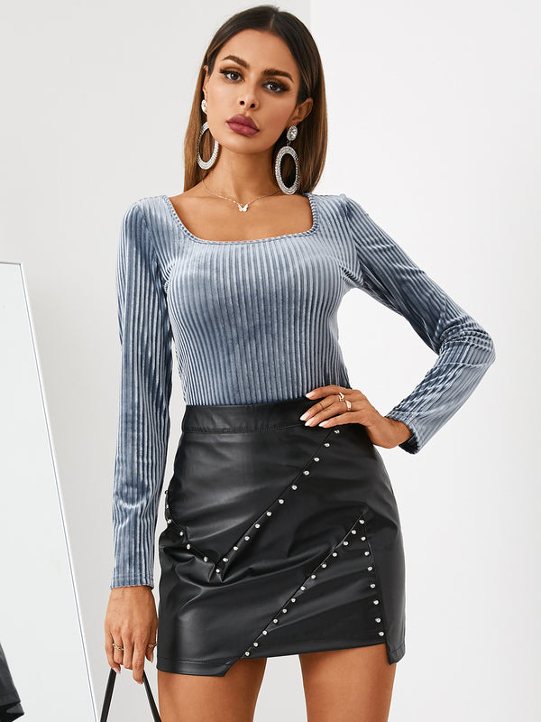 Blue Velvet Square Neck Long Sleeves Blouse