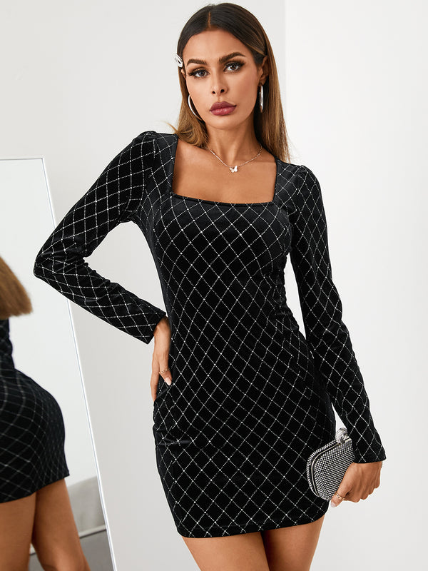 Square Neck Sexy Geometric Velvet Mini Dress
