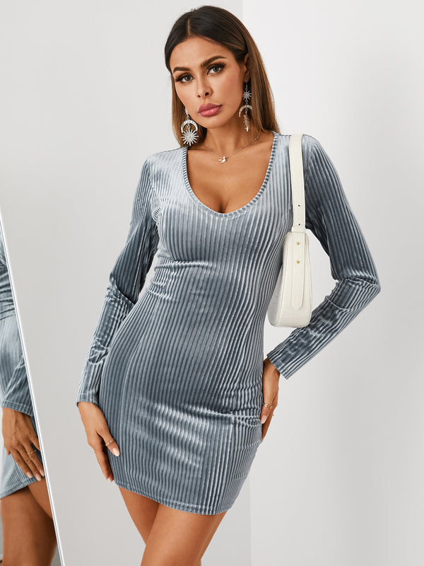 Sexy Solid Color Velvet Slim Long Sleeves Mini Dress