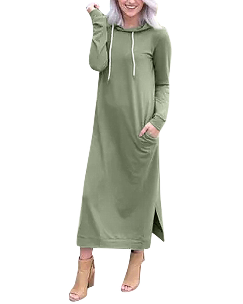 Women's Hoodie Long Tunic Dress Solid Pullover with Pockets Split Side