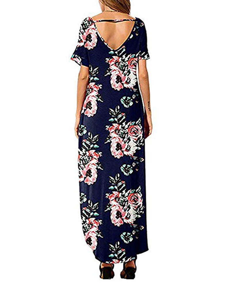 Women's Casual Loose Floral Beach Maxi Dress with Pockets