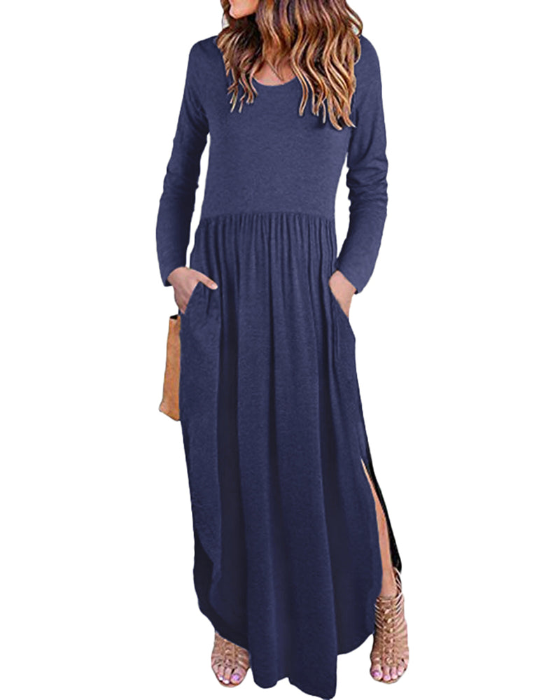 Women's Long Sleeve Solid Ruffles Loose Madi Dress