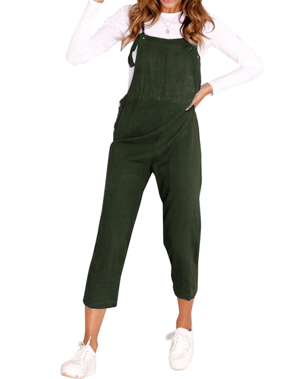 Solid Casual  Jumpsuit Side Button Lace-up