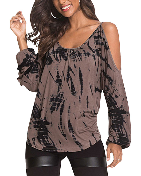 Women Cold Shoulder Casual Pullovers Cut Out Shirts Plus Size - Coendy