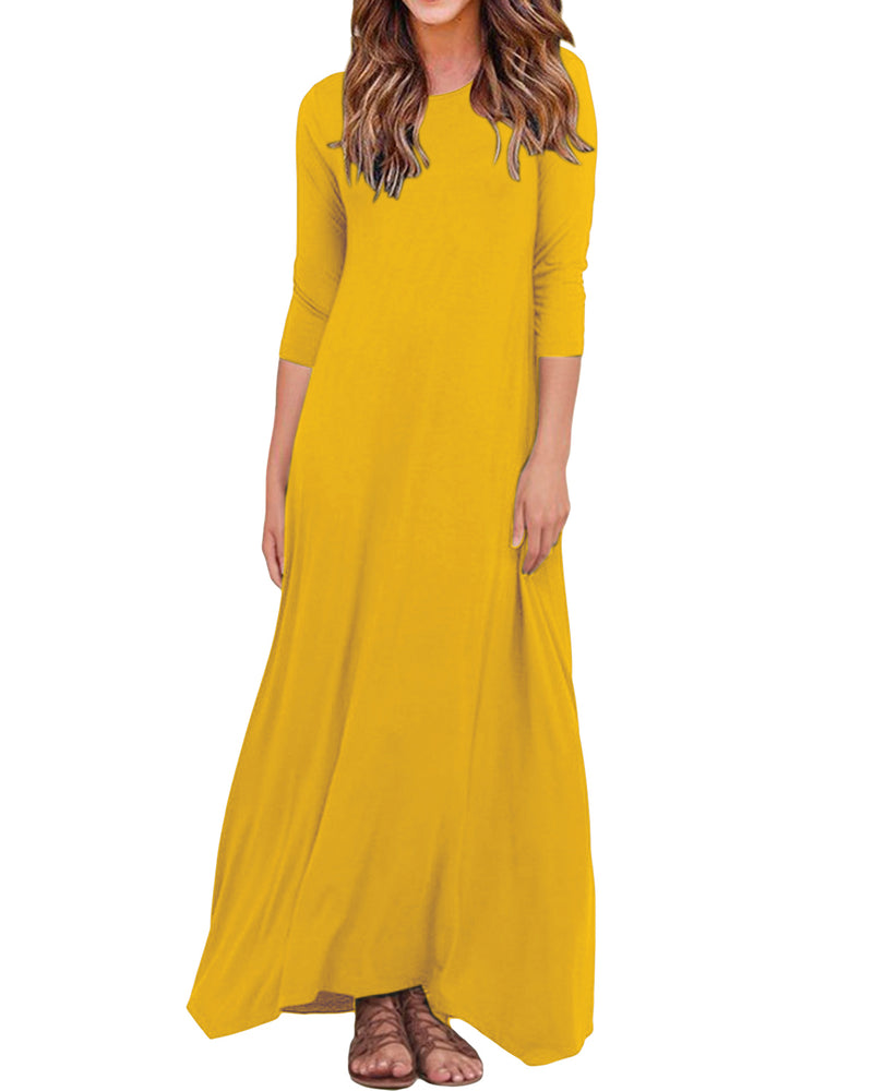 Women 3/4 Sleeves Loose Fit Plain Baggy Casual  Maxi Dress with Pockets