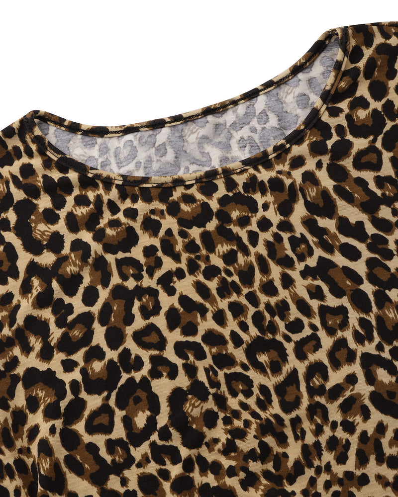 Mini Dress for Women with Pockets Long Sleeves Flowy Leopard