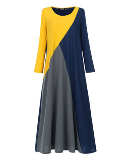 Women Vintage Color Block Loose Fit Plain Casual Kaftan Maxi Dress with Pockets