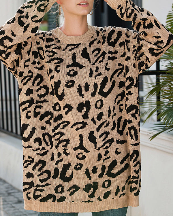 Women's Oversized Sweater Leopard Print Long Sleeve Crew Neck Casual Loose Pullover