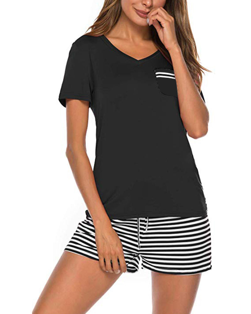 Womens Pajamas Set Short Sleeve Striped Nightwear - Coendy