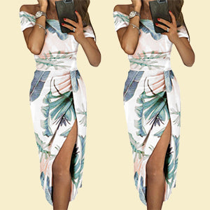 Women Floral Print High Slit Formal Party Dresses - Coendy