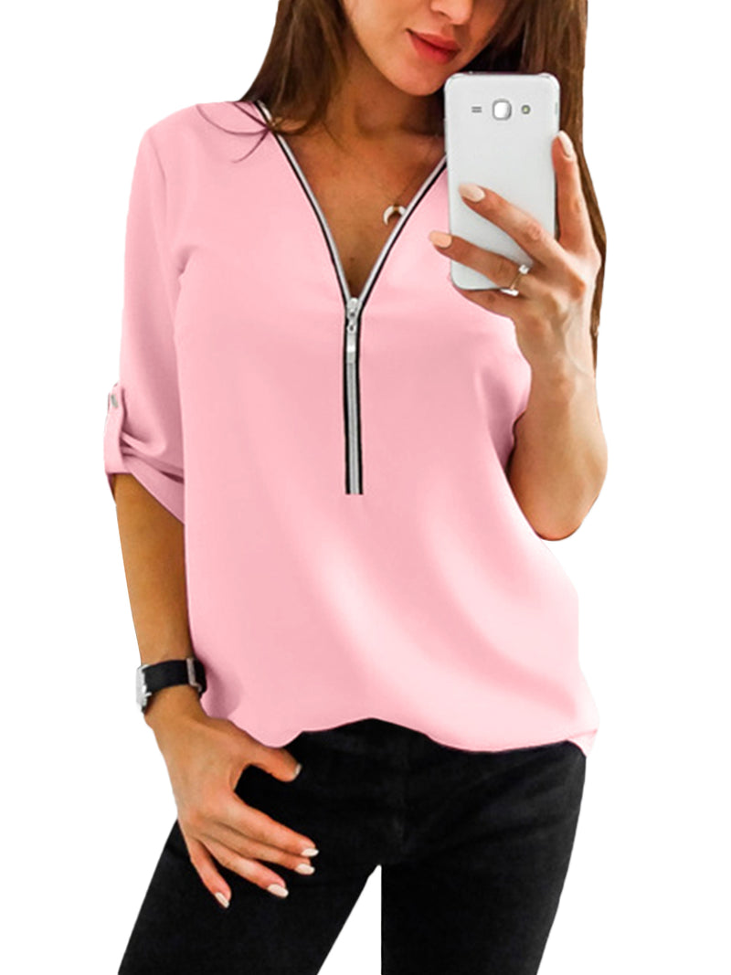 Women's V Neck Shirts Causal Blouse Roll-Up Sleeve