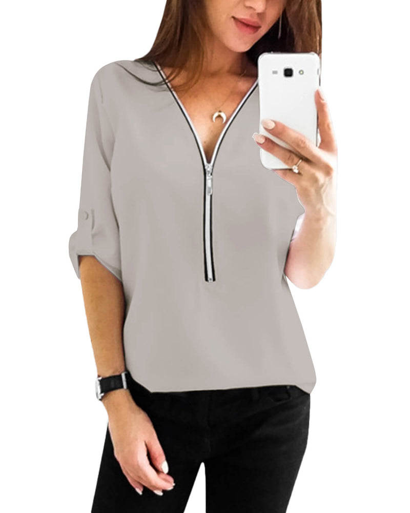 Women's v-neck 3/4 arm or long-sleeved elegant tops - Coendy