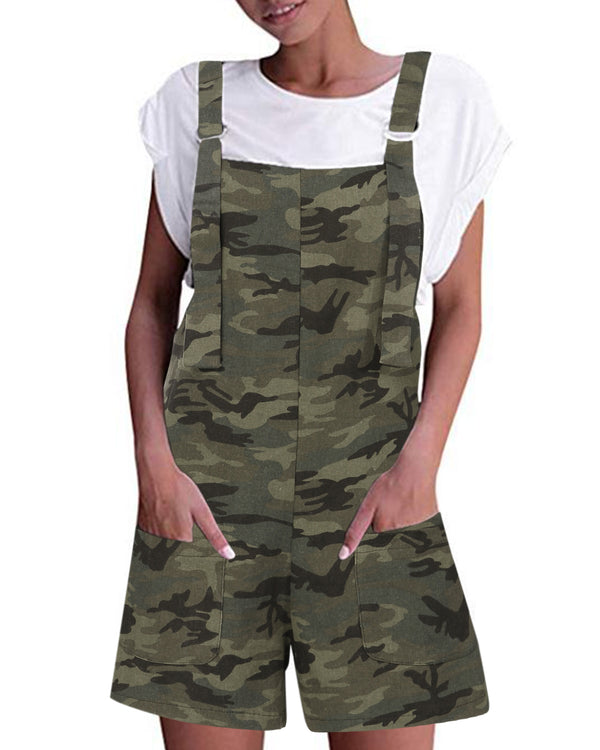 Women's Camo Shorts Sleeveless Casual Overalls with Pockets