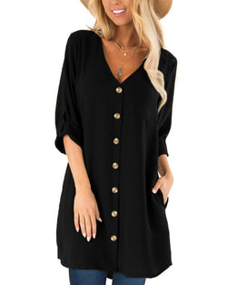 Women Casual Solid Button Shirt Dress with Pockets