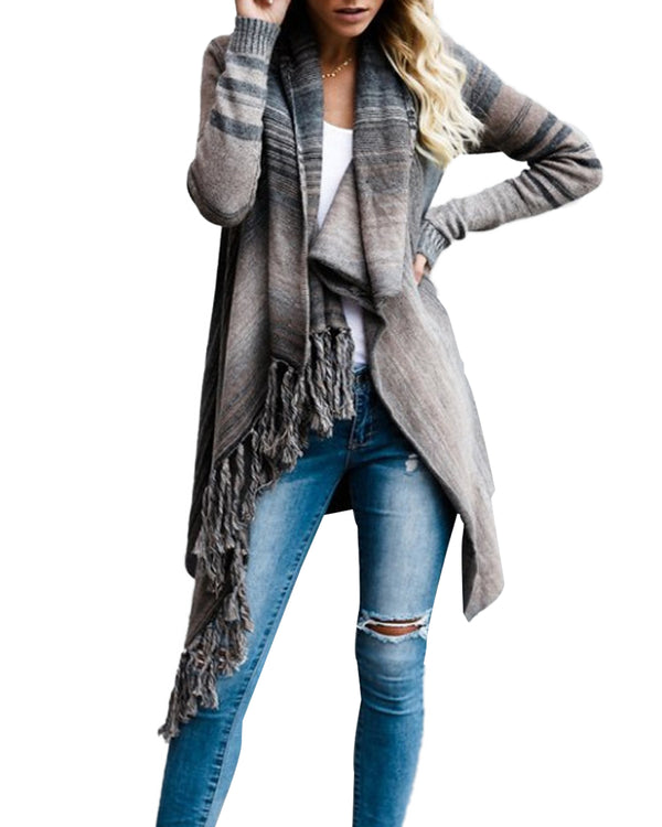 Women's Open Front Tassel Cardigan Knit Striped Slash Hem Poncho