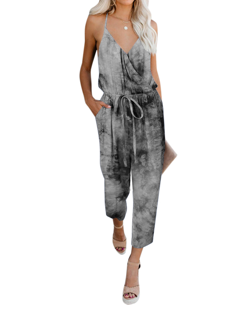 Women's V Neck Tie Dye Casual Rompers - Coendy