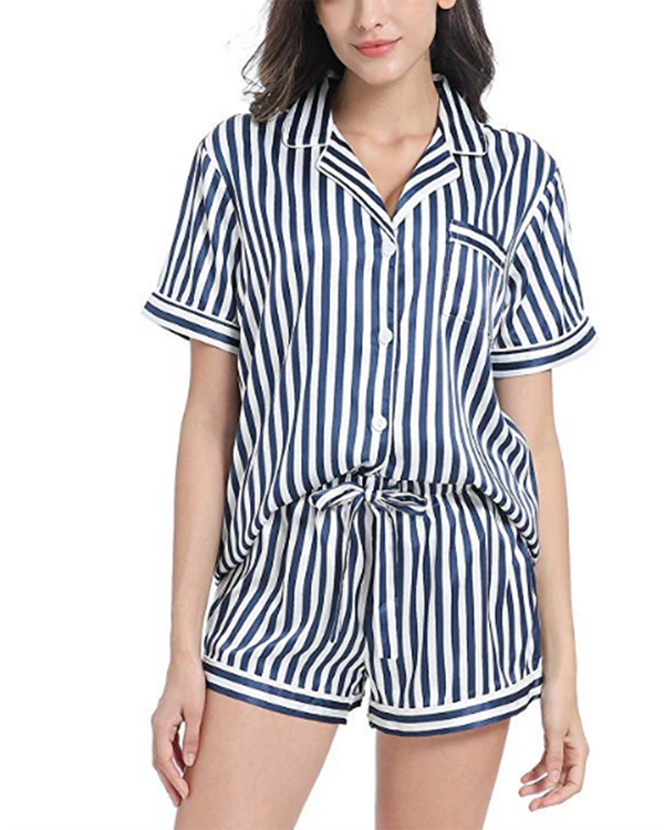 Women Striped Silky Pajamas Set Button Sleepwear - Coendy