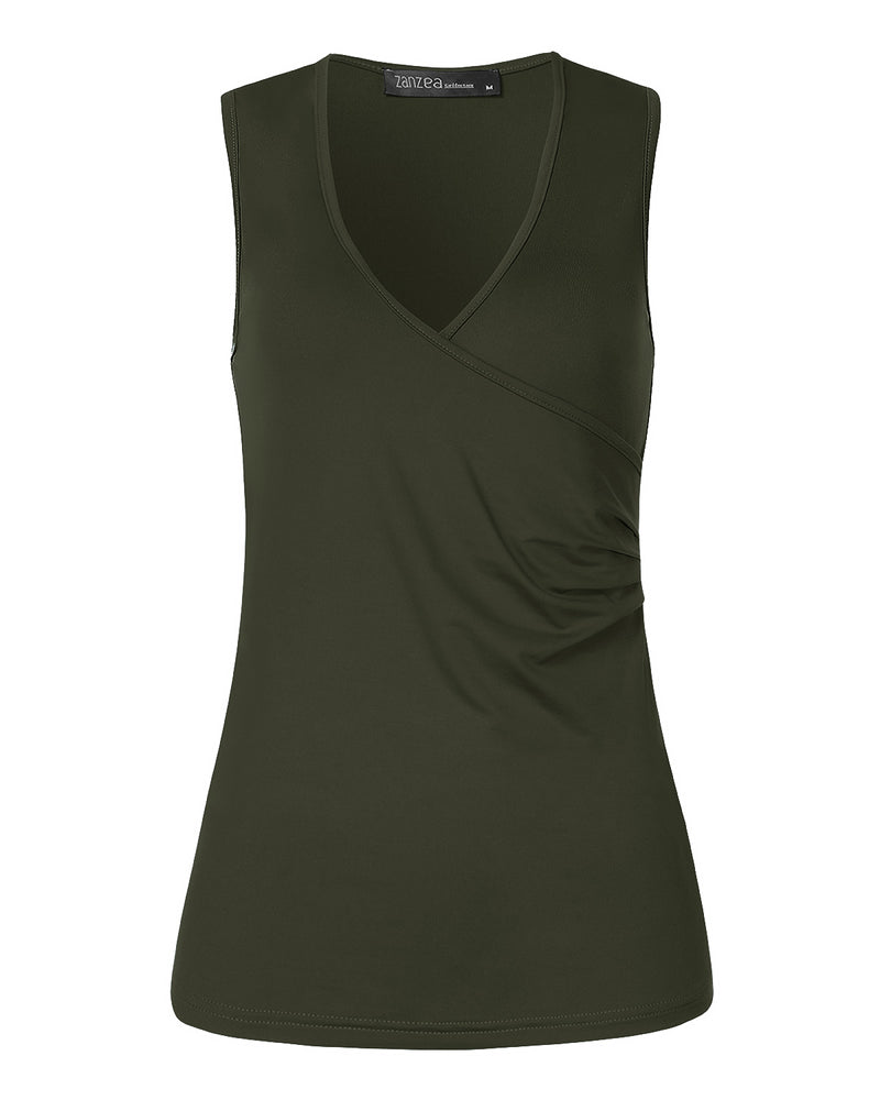 Womens Sexy Deep V Neck Sleeveless Low Cut Ruched Tank Tops