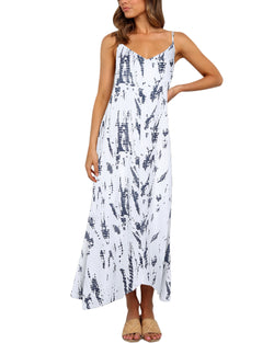 Tie Dye Adjustable Spaghetti Strap Maxi Dress Vacation