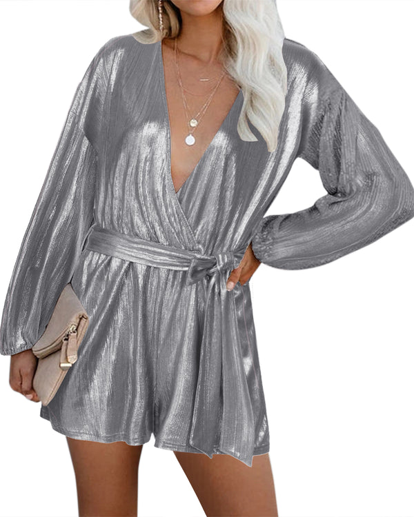 Solid V Neck Playsuits  Sparkle Metallic Party Romper
