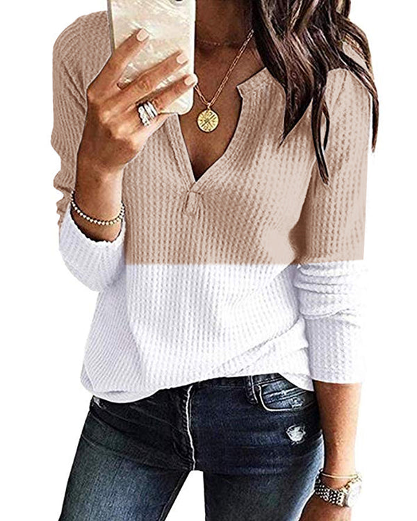Patchwork Loose Casual Waffle Knit Tunic Sweaters for Women