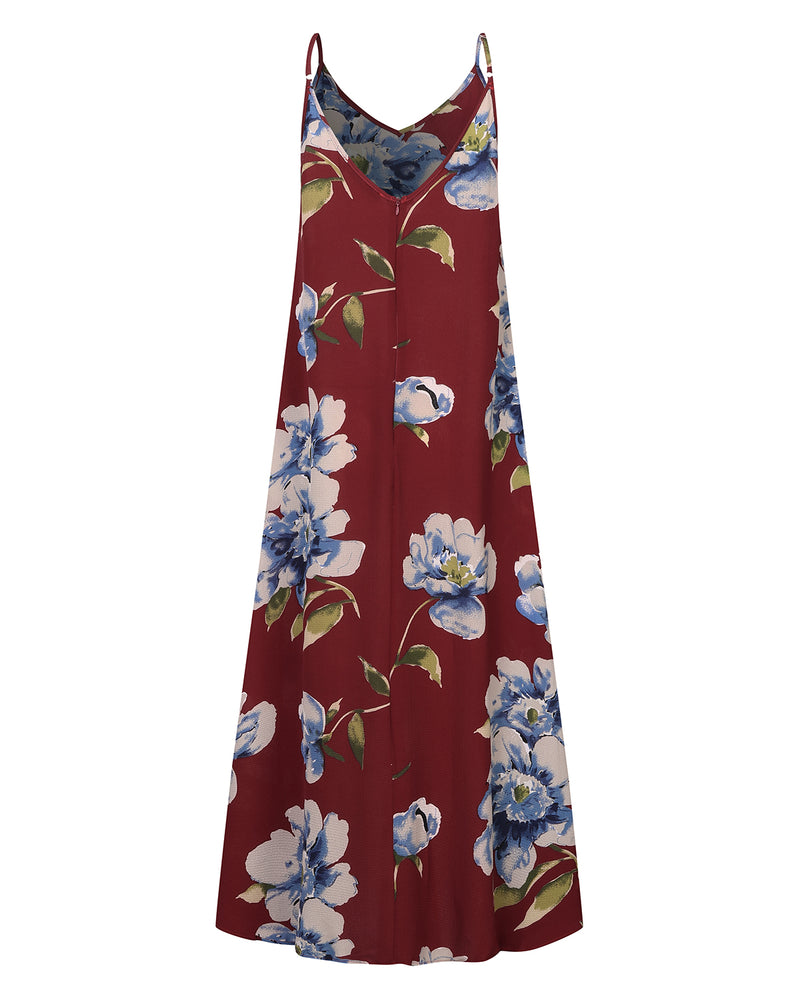 Womens Floral Maxi Dress Casual Loose Boho with Pocket