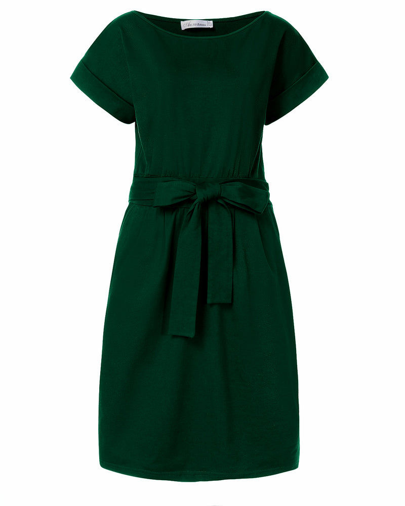 Women Casual Solid Color Belted Elegant Midi Dress with Pockets