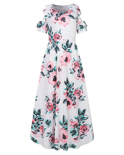Women Floral Casual Loose Maxi Dress with Pockets